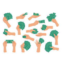 Hands holding paper money cash dollar banknotes vector