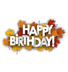 Happy birthday card with leaves vector image