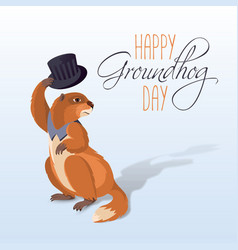 happy groundhog card vector image