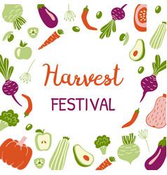 Harvest festival bright banner modern design vector