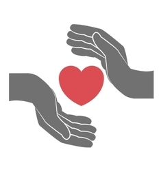 heart and hand icon vector image