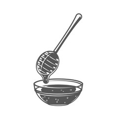 Honey spoon isolated on white background vector