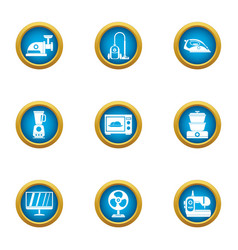 Household appliance icons set flat style vector