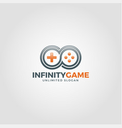 infinity game - unlimited game logo vector image