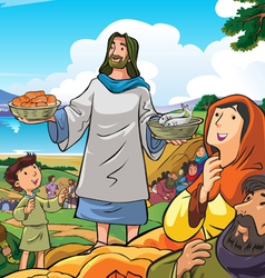 Jesus deliver food vector