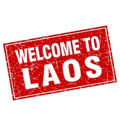 Laos red square grunge welcome to stamp vector