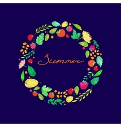 lettering in the frame of Summer berries leaves vector image