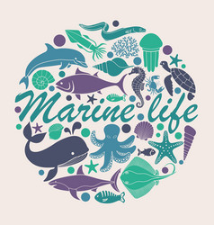 Marine life icons in the form of a circle vector
