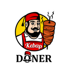 Mascot seller turkish food doner kebab vector