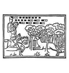 Medieval hunting horn vintage vector