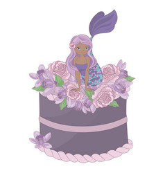 Mermaid party floral sweet princess vector
