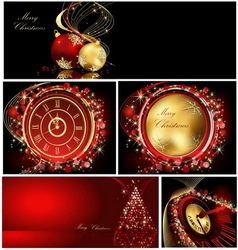 Merry Christmas background collections gold and re vector image