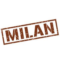 Milan brown square stamp vector