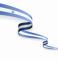 nicaraguan flag wavy abstract background vector image