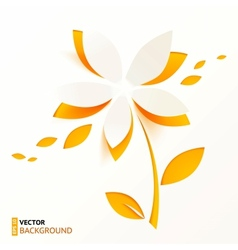 Orange paper flower greeting card template vector