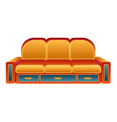orange sofa icon cartoon style vector image