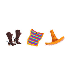 pair cowboy leather boots mexican poncho vector image
