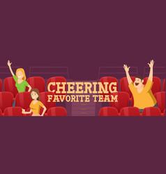 People cheering favorite team on stadium on match vector