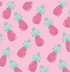 Pineapples punchy pastel pattern background vector