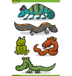 Reptiles and amphibians cartoon set vector