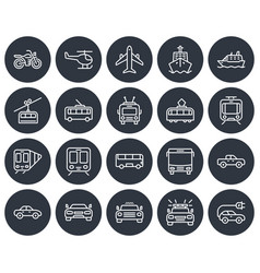 round icons set some transport facilities line vector image