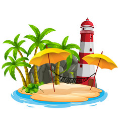 scene with lighthouse on beach on white vector image