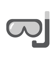 scuba mask flat linear icon vector image