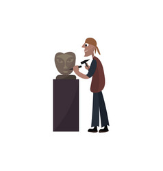Sculptor working on white background vector