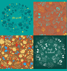 Seamless and round floral patterns set vector