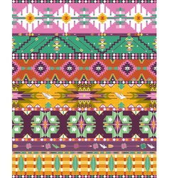 Seamless colorful aztec geometric pattern with bir vector