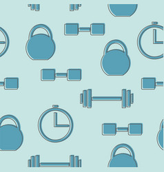 seamless pattern with gym icons - blue background vector image