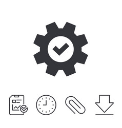 Service icon cogwheel with tick sign vector