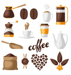 set coffee icons food with vector image