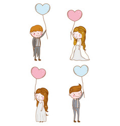 set man and woman with hearts balloons vector image