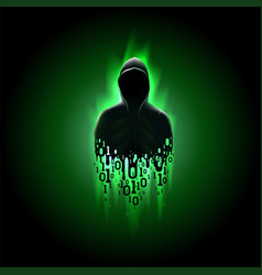 Silhouette a hacker in a hood with binary code vector