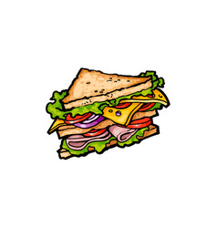 sketch sandwich with vegetables cheese vector image