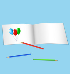 Sketchbook for drawing and color pencils vector