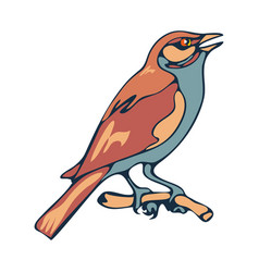 sparrow bird sitting on a branch flat style vector image