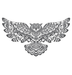 Stylized Decorative Owl Drawing for Coloring Book vector image