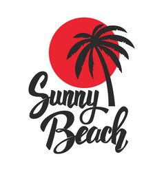 sunny beach lettering phrase with palm icon vector image