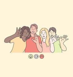 teamwork friendship cooperation vector image