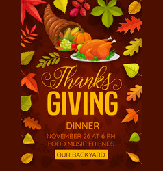 thanks giving dinner flyer with cornucopia vector image