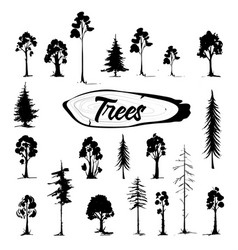 tree icon set hand drawn isolated vector image