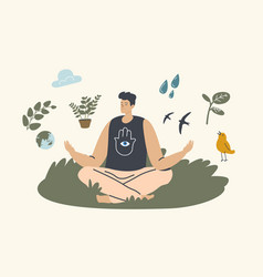Unity with nature concept man meditating outdoors vector