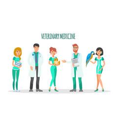 veterinary medicine flat characters set vector image