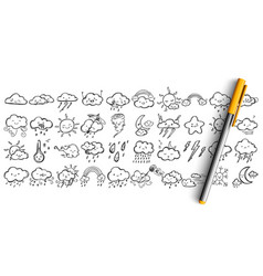 weather condtitions doodle set vector image