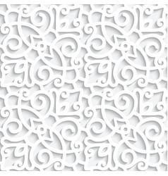 white lace pattern with cutout paper swirls vector image