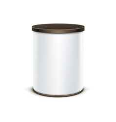 White tin box packaging container for tea coffee vector