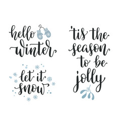 winter seasonal calligraphy set vector image