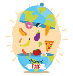 world food day dish cloche shaped earth vector image